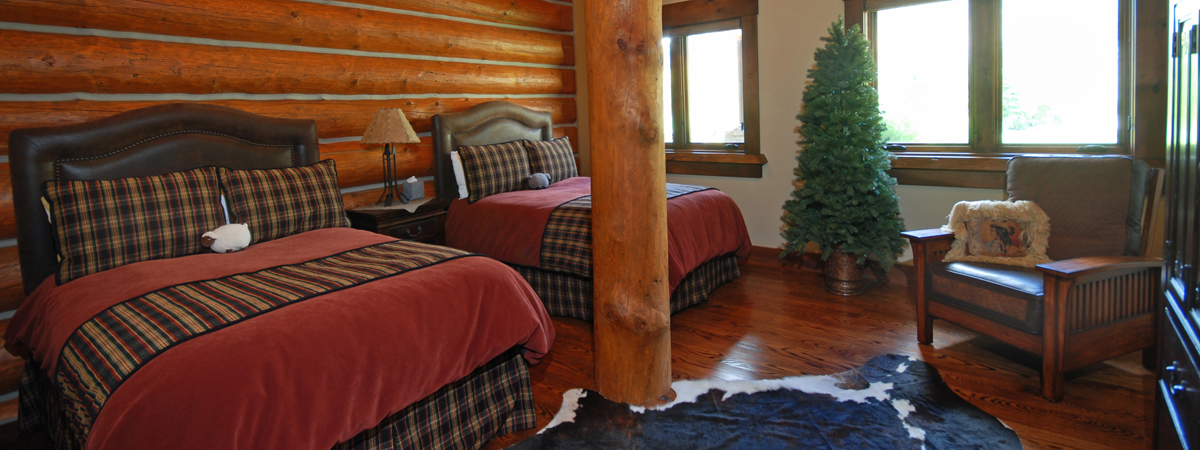 Lodge Bedroom at a Montana Fishing Resort on the Big Hole River