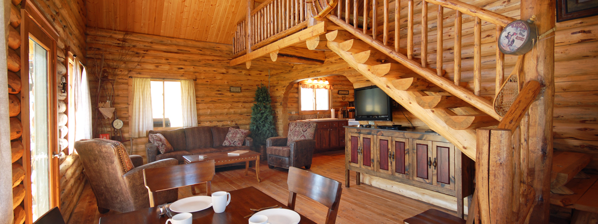 Montana Fly Fishing Cabin, Log Cabin living room, Salmonfly, on the Big Hole River in Montana