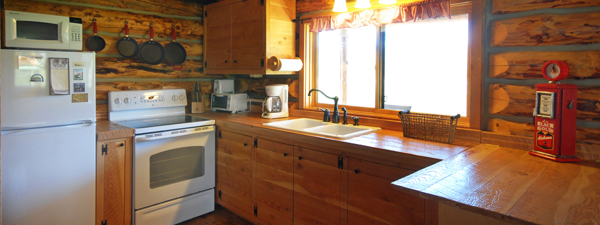 Log Cabin kitchen, Copper John, on the Big Hole River in Montana