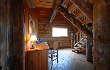 Montana Fly Fishing Cabin, Log Cabin desk on the Big Hole River