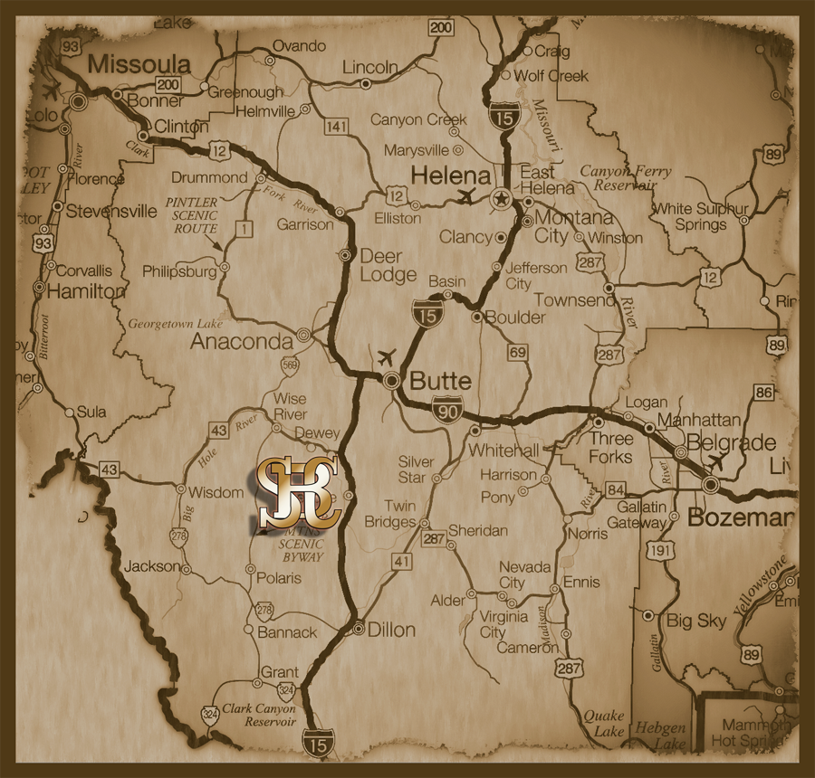 Southwest Montana Map showing the Silver Bow Club