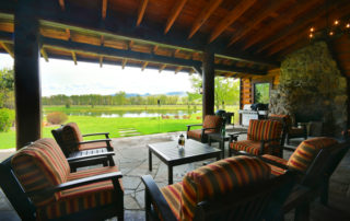 Luxury Resorts Montana, Patio and Trout Pond at the Silver Bow Club Montana