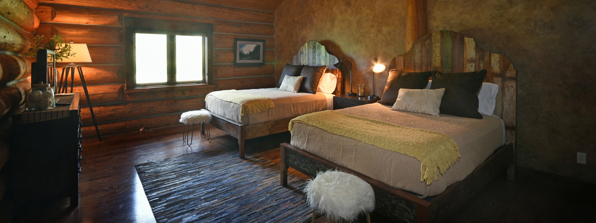 Lodge Bedroom at a Montana Luxury Resort on the Big Hole River