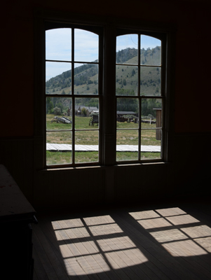 Seen through the hotel windows, Bannack Ghost Town