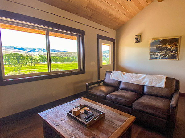 Caddis Cabin Living Room with Woodstove